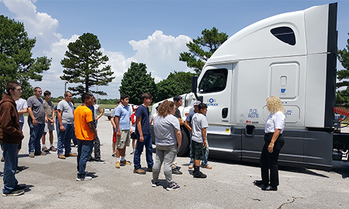 Explore Skilled Trades Camp Attendees Truck Driving Demo
