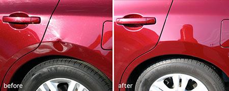 Car sidepanel before and after paintless dent repair